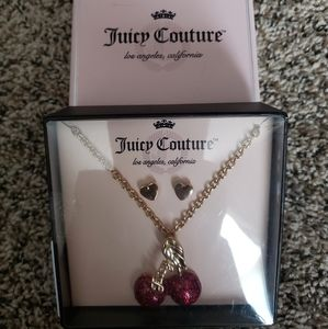 Juicy Couture gold necklace and earring set